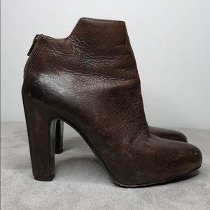 Vince Brown Leather Platform Booties Sz 6.5 LB